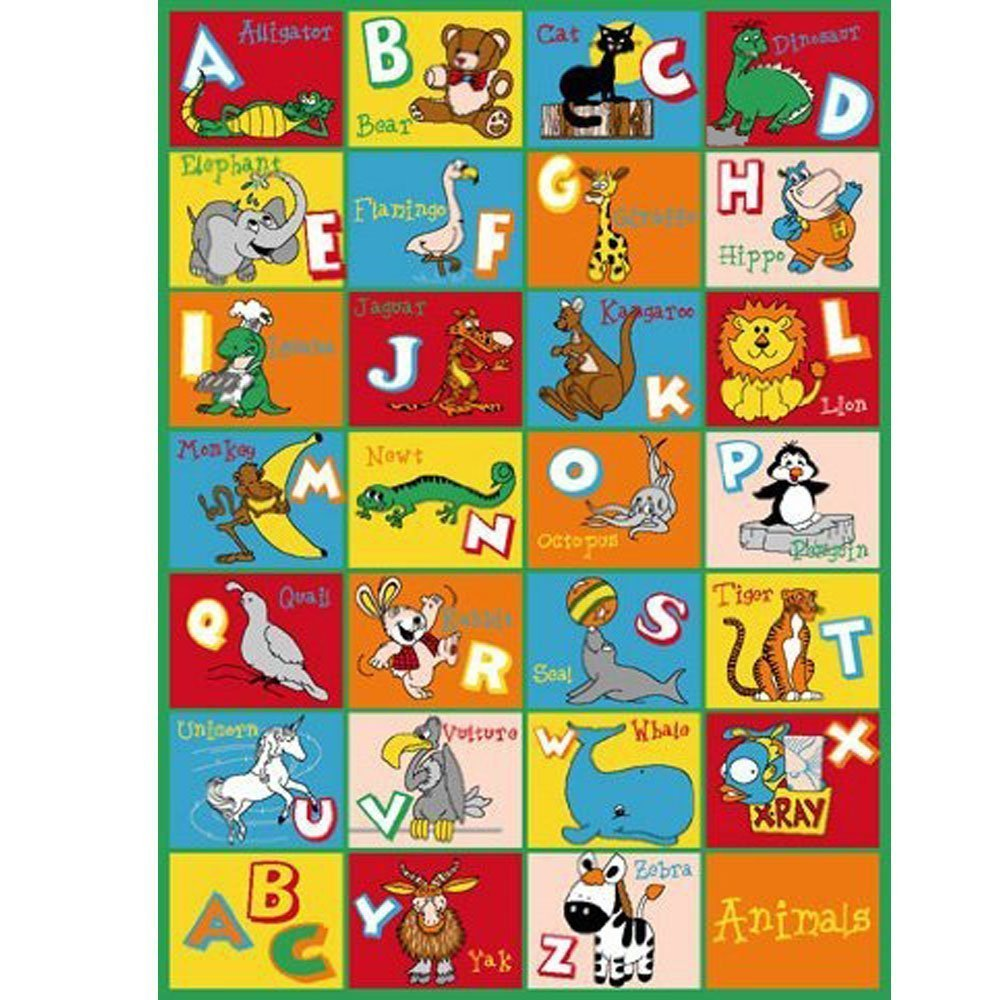 Kids Rug Alphabet Animals Area Rug 5' x 7'