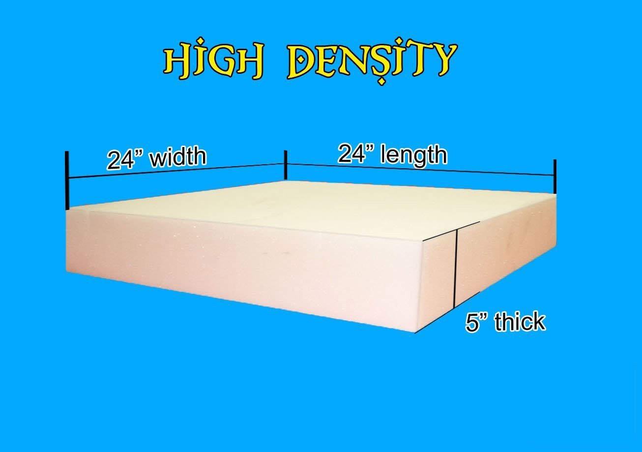 "5"" x 24"" x 24"" High Density Upholstery Foam Cushion (Seat Replacement , Upholstery Sheet , Foam Padding)"