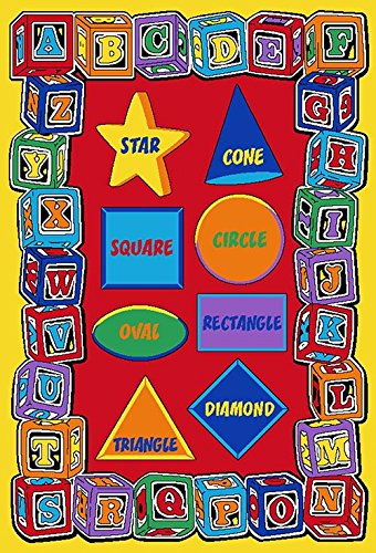 Kids Rug ABC Shapes Area Rug 5 Ft. x 7 Ft. + Free Shipping