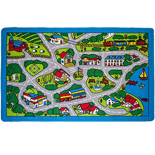 "Kids Rug Street Map Gray Area Rug 3'3"" x 4'9"" non slip gel backing"