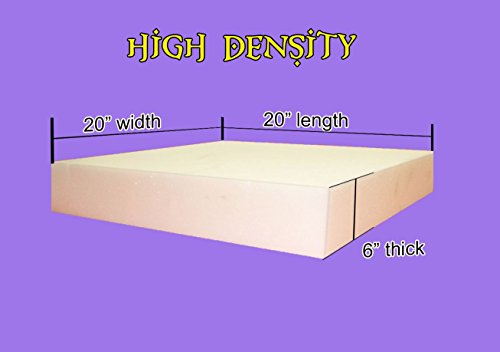 "6"" x 20""x 20"" Upholstery Foam Cushion High Density (Seat Replacement , Upholstery Sheet , Foam Padding)"