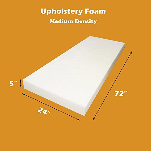 "5"" X 24"" X 72"" Upholstery Foam Cushion Medium Density (Seat Replacement , Upholstery Sheet , Foam Padding)"