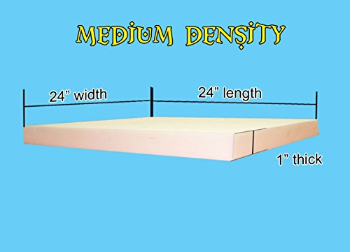 "1"" x 24""x 24"" Upholstery Foam Cushion Medium Density (Seat Replacement , Upholstery Sheet , Foam Padding)"