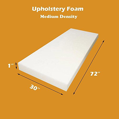 "1"" x 30"" x 72"" Upholstery Foam Cushion Medium Density  (Seat Replacement , Upholstery Sheet , Foam Padding)"