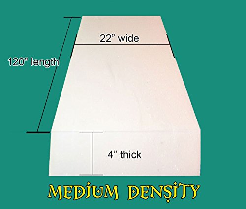 "4"" x 22"" x 120"" Upholstery Foam Medium Density Cushion (Seat Replacement , Upholstery Sheet , Foam Padding)"