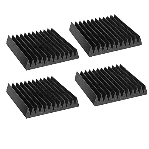 """4 Pack Acoustic Wedge Studio Soundproofing Foam Wall Tiles 12"""" X 12"""" X 2"""" (High Density) (High Density) Made in USA"""