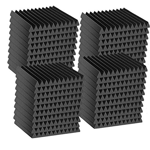 """48 Pack Acoustic Wedge Studio Soundproofing Foam Wall Tiles 12"""" X 12"""" X 2"""" (High Density) Made in USA"""