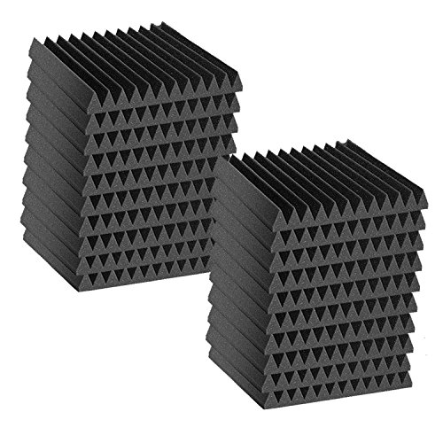 """24 Pack Acoustic Wedge Studio Soundproofing Foam Wall Tiles 12"""" X 12"""" X 2"""" (24 Square Feet) Made in USA"""