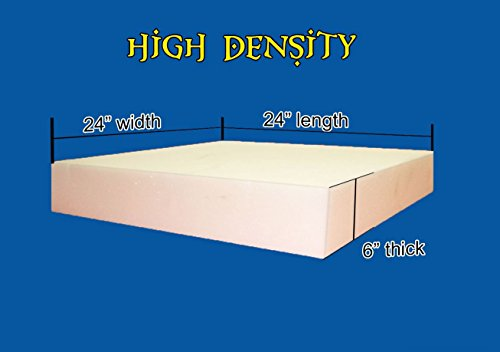 "6"" x 24"" x 24"" High Density Upholstery Foam Cushion (Seat Replacement , Upholstery Sheet , Foam Padding)"