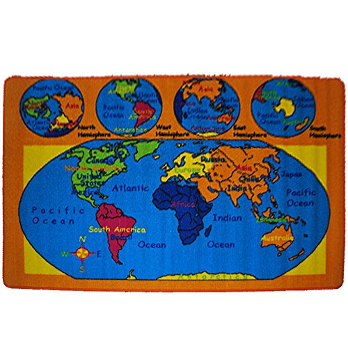 "Kids Rug World Map Area Rug 4'11"" x 6' 10"" non slip gel backing"