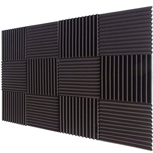 "12 Pack Acoustic Foam Wedge Panels Studio Soundproofing Wall Tiles 1"" X 12"" X 12"""