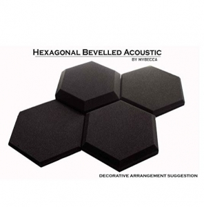 Mybecca [4 PACK] Acoustic HEXAGONAL Bevelled Tiles Soundproofing Wall Panels 2 inches by 12 inches, Made in USA