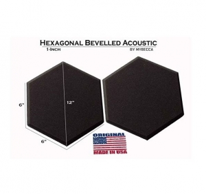Mybecca [12 PACK] Acoustic HEXAGONAL Bevelled Tiles Soundproofing Wall Panels 2 inches by 12 inches, Made in USA