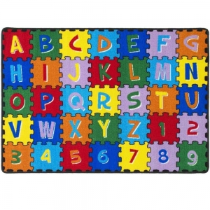 "Mybecca Kids Rug Alphabet Puzzle with Numbers & Letters Large Area Rug for Classroom 5ft x 7ft (59"" x 82"")"