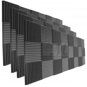 "Mybecca 96 Pack Acoustic Foam Wedge 1"" X 12"" X 12"" Studio Soundproofing Panels (96 Square Feet), Charcoal"