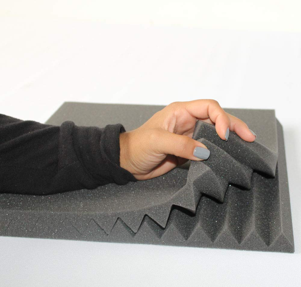Mybecca 12 PACK Acoustic Foam Wedge Soundproofing Wall Tiles 12 X 12 X 1 Charcoal