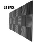 "Acoustic Wedge Studio Soundproofing Foam Wall Tiles 24 Pack 12"" X 12"" 1"" (24 Square Feet)"