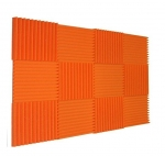 "12 Pack Acoustic Panels Studio Foam Wedges 1"" X 12"" X 12"" Orange Color - fire resistant"