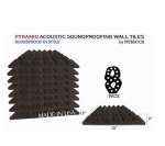Mybecca [8 PACK] Premium PYRAMID 2-inch Acoustic Foam Studio Soundproofing & Sound Isolation Wall Tiles 12 X 12 X 2 Inches for iTunes and Youtube Recording, Made in USA
