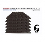 "6 pack - Acoustic Foam Sound Absorption Pyramid Studio Treatment Wall Panels, 2"" X 12"" X 12"""