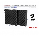 Mybecca 2 PACK Premium 2-inch EGGCRATE Convoluted Acoustic Foam Wall Panel Studio Soundproofing Wall Tiles 12 X 12 Inches, Made in USA