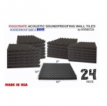 Mybecca 24 PACK Premium 2-inch EGGCRATE Convoluted Acoustic Foam Wall Panel Studio Soundproofing Wall Tiles 12 X 12 Inches, Made in USA