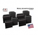 Mybecca [48 PACK] Acoustic BEVEL Tiles Soundproofing Wall Panel 12 x 12 x 2 inch, Made in US
