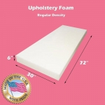 "Upholstery Foam Cushion Regular Density (Seat Replacement , Upholstery Sheet , Foam Padding) 6"" x 30"" x 72"""