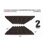 Mybecca [2 PACK] Premium PYRAMID 2-inch Acoustic Foam Studio Soundproofing & Sound Isolation Wall Tiles 12 X 12 X 2 Inches for iTunes and Youtube Recording, Made in USA