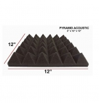 12 PACK Premium Acoustic Pyramid Soundproofing Wall Tiles 12 X 12 X 2 inch, Made in USA