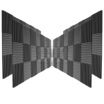 "Mybecca 96 Pack Acoustic Foam Wedges 2"" X 12"" X 12"" Studio Soundproofing Wall Tiles (96 Square Feet), Charcoal"
