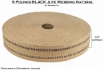 Mybecca [1 ROLL/72 Yards] Black 9 Pounds Jute Webbing Natural Fabric 3.5 Inches Wide for Crafts & Decorations