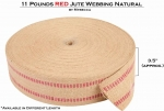 Mybecca [1 ROLL/72 Yards] RED 11 Pounds Jute Webbing Natural Fabric 3.5 Inches Wide for Crafts & Decorations